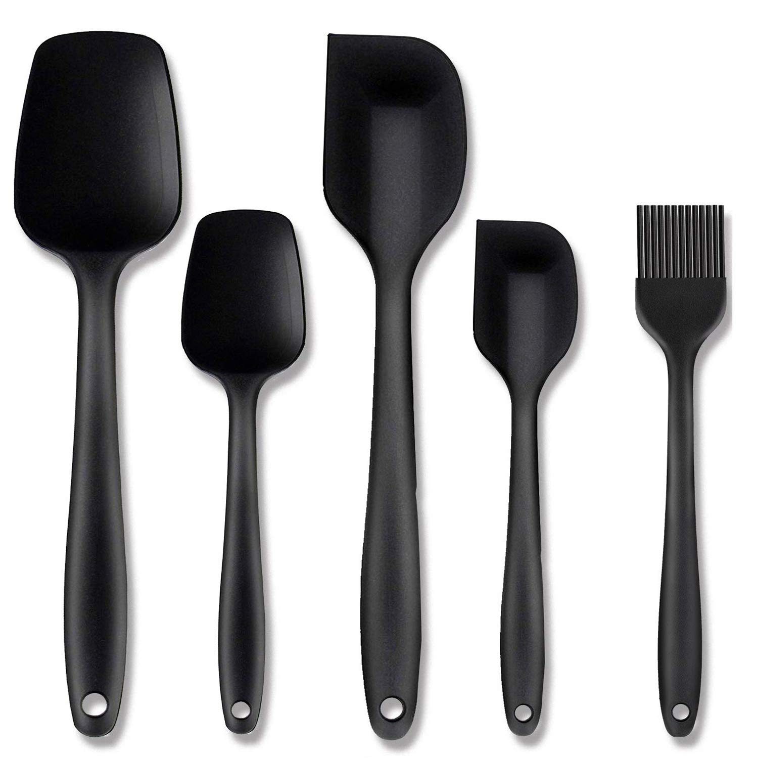 Benss Silicone Spatula Set Silicone Kitchen Utensils Set Silicone Brush Heat Resistant Food Grade Non-Stick, for Cooking Baking Cake Decorating, Rubber Spatula Turner Spoonula, by Benss, Set of 5