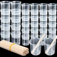 36 PCS Plastic Liquid Measuring Cup, LEOBRO 12 PCS 100ML Epoxy Mixing Cup, 24 PCS 50ML Paint Mixing Cup, 20 PCS Wooden Stir Stick, Multipurpose Measuring Mixing Cup for Epoxy Resin Paint