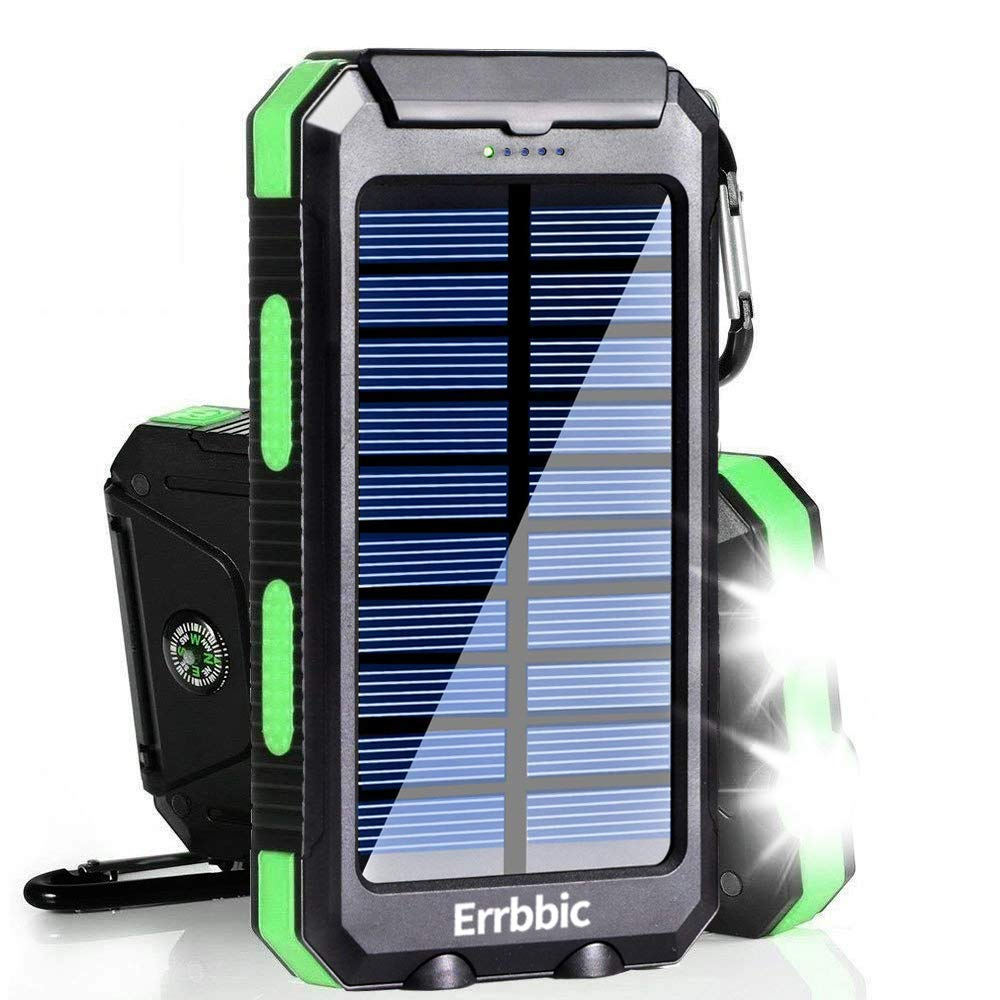 Solar Charger, 20000mAh Solar Power Bank Waterproof Portable Charger External Battery Packs with Dual 2 USB/LED Flashlights Port for iPhone Android Cellphones