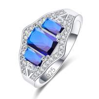 Narica Charming 925 Sterling Silver Plated Emerald Cut Created Blue Sapphire Quartz Cocktail Party Ring for Women Size 8