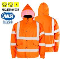 FWG High Visibility Safety Bomber Jacket for Men Women Waterproof Insulated Workwear Parka (Large, Flame)