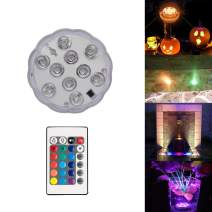 Garmaker Upgraded Submersible LED Lights,RGB Color Changing Party Lights Waterproof,4 Modes Submersible Lights with Remote Controls for Lighting Up Vase,Bowl,Fish Tank,Wedding,Halloween,Party Lights