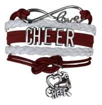 Cheer Bracelet- Cheerleading Charm Infinity Bracelet- Cheer Jewelry for Cheerleader, Cheer Team or Team