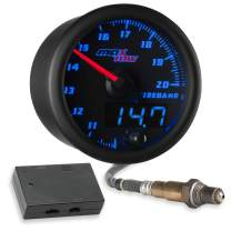 """MaxTow Double Vision Wideband Air/Fuel Ratio AFR Gauge Kit - Includes Oxygen Sensor, Data Logging Output & Weld-in Bung - Black Gauge Face - Blue LED Dial - Analog & Digital Readouts - 2-1/16"""" 52mm"""