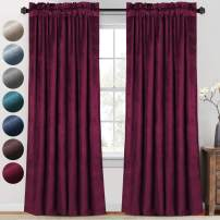 PrinceDeco Luxury Velvet Curtains Blackout for Living Room 2 Panels 84 Inches Thick Soft Smooth Room Darkening Decorative Curtain Draperies for Bedroom Windows Rod Pocket (52 x 84 Inch, Burgundy)