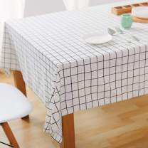 Bringsine Fashion Classic Rectangular Cotton Linen White Check Washable Tablecloth Vintage Dinner Picnic Table Cloth Cover Home Decoration(Oblong, 55 x 71 Inch)
