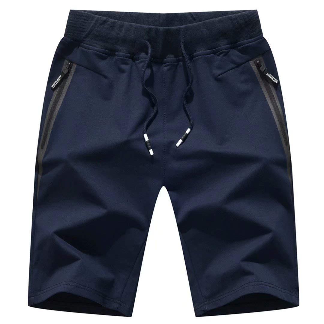"STICKON Mens 7"" Inseam Workout Shorts Elastic Waist Drawstring Summer Casual Short Pants Zipper Pockets"