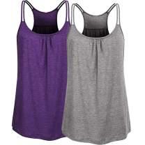 TAKIYA Women's Raceback Tank Scoop Neck Tops Loose Shirt Fit Workout Sport Gym Running Yoga Gym Shirts