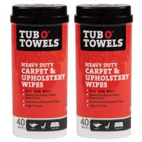 Tub O' Towels Carpet and Upholstery Spot Remover Cleaning Wipes - Clean, Scrub, Remove, 40 Count, 2-Pack