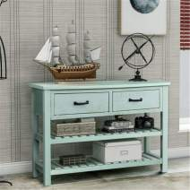 Console Tables for Entryway, Baysitone Wood Sofa Table with 2 Drawers and 2 Tiers Shelves for Living Room (Antique Blue)