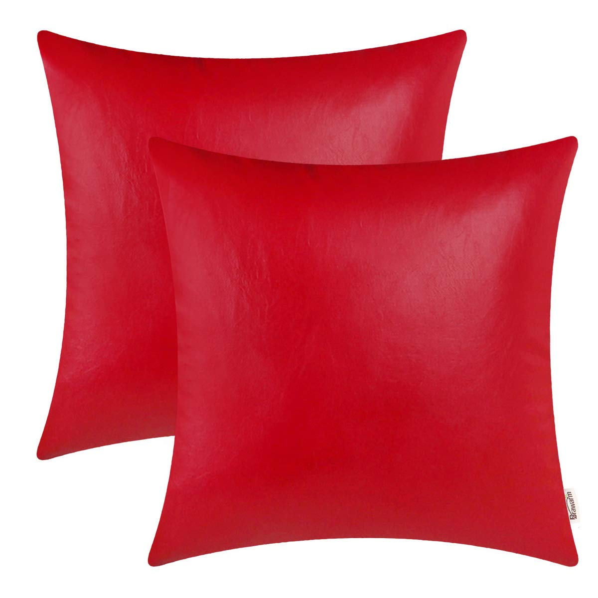 BRAWARM Pack of 2 Cozy Throw Pillow Covers Cases for Couch Sofa Home Decoration Solid Dyed Soft Faux Leather Both Sides 16 X 16 Inches Christmas Red