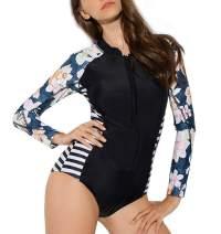 Women's One Piece Rash Guard Swimsuit Long Sleeve Sun Protection Printed Swimwear Bathing Suit