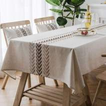 Bringsine Embroidery Wheat Ear Tablecloth Heavy Weight Cotton Linen Fabric Dust-Proof Water-Proof Table Cloth Cover for Kitchen Dinning Tabletop Decoration (Rectangle/Oblong, 53 x 53 Inch, Linen)