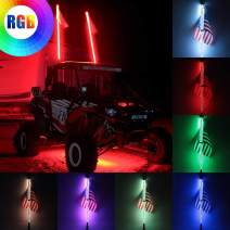 Novsight 3FT RGB 360° Spiral LED Whip Lights + Flag 20 Colors Remote Controll Weatherproof Lighted Antenna Whips Lamp Accessories for UTV Off- Road Vehicle ATV Polaris RZR 4 Wheeler