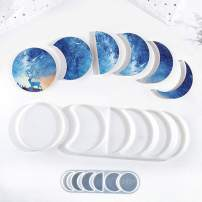 Silicone Resin PaintingTray Molds 3 pcs Crescent Shape DIY Irregular Epoxy Resin Casting Molds Great for Making Coasters, Resin Painting Art and Living Room Bedroom Hanging Decoration (Moon)