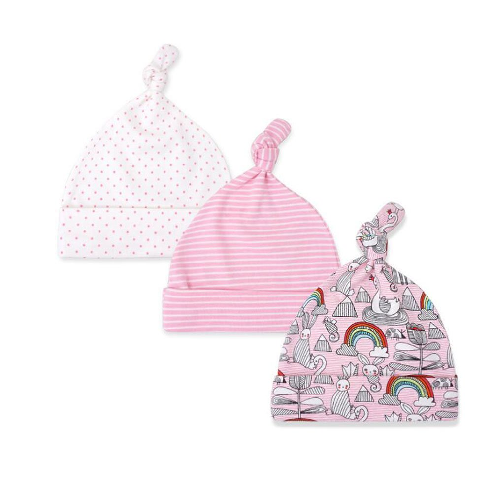 Mom's care Baby Hat for Newborn Boys/Girls 100% Cotton Adjustable Knot Hats, 3 Pack
