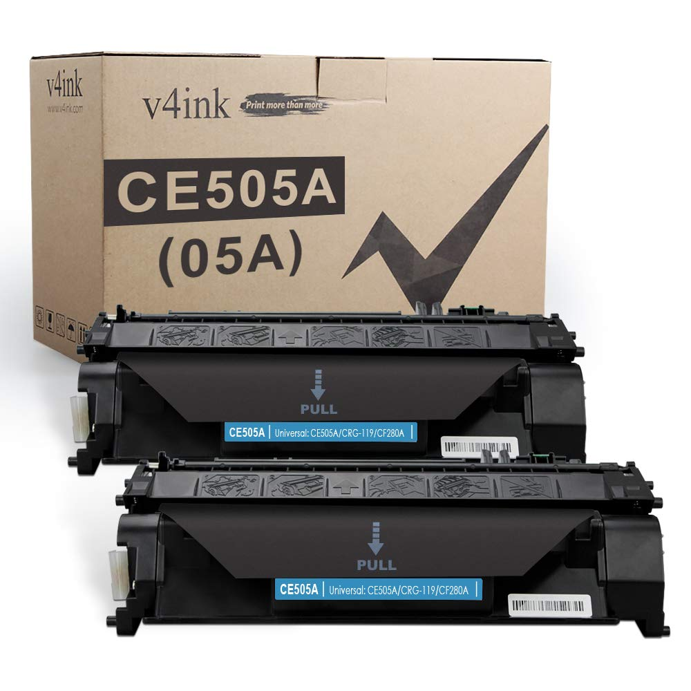 V4INK 2PK Compatible Toner Cartridge Replacement for HP 05A CE505A Toner Cartridge for use in HP Laserjet P2035 P2035n P2055dn P2055 P2055d, Pro 400 m401n m401dne m401dw MFP M425dN M425dw Printer Ink
