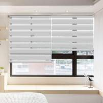 """LUCKUP Horizontal Window Shade Blind Zebra Dual Roller Blinds Day and Night Blinds Curtains,Easy to Install 31.5"""" x 90"""" Grey"""