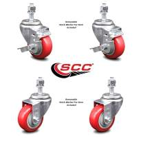 """Red Polyurethane Swivel Threaded Stem Caster Set of 4 w/3.5"""" x 1.25"""" Wheels and 12mm Stems - Includes 2 with Top Locking Brake - 1000 lbs Total Capacity - Service Caster Brand"""