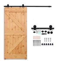 "CCJH 15FT Sliding Barn Door Hardware Kit, Heavy Duty, Smoothly and Silently, Easy to Install, Fit 90"" Thickness Single Door Panel, T-Shaped Style Black"