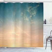 "Ambesonne Sky Shower Curtain, Horizon Illustration Scenic Natural Beauties Summer Season Inspired Peaceful, Cloth Fabric Bathroom Decor Set with Hooks, 84"" Long Extra, Petrol Blue"