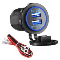 Dual USB Charger Socket Power Outlet - Quick Charge 3.0 & 2.4A Port for Car Boat Marine Rv Mobile with Wire Fuse DIY Kit (QC 3.0 - Blue)