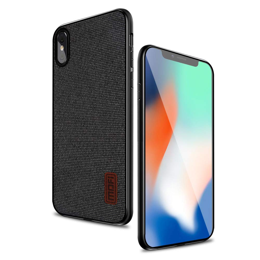 iPhone X Case Cover with Art Cloth & Soft TPU Edge and Full-Edge Protection Shock- Absorbing and with Great Grip Fully Compatibale for iPhoneX(Black)