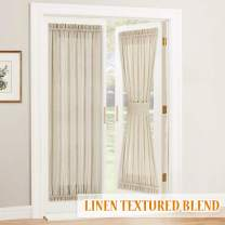 RYB HOME Sheer Curtains for Door Windows Sidelight - Linen Texture Semi Sheer Privacy Voile Drapes for Front Door Back Door Foyer Window, 1 Free Tieback, 52 inches Wide x 72-inches Long, Beige