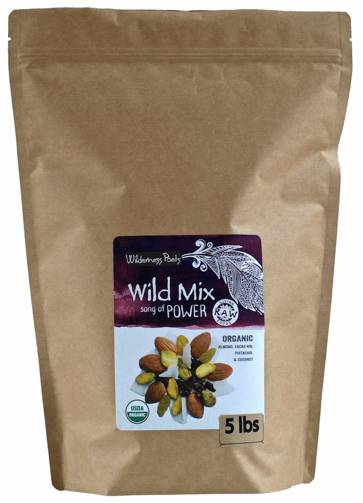 Wilderness Poets Song Of Power Trail Mix (Almonds, Pistachios, Sweetened Cacao Nibs, Golden Raisins, Coconut Flakes) - Organic & Raw - 10 Pound