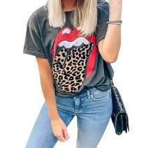 Womens Red Lips Leopard Print Tongue T Shirt Plus Size Short Sleeve Cute Cheetah Graphic Tee Tops
