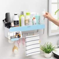 Bathroom Shower Organization, Bathroom Wall Organizer Adhesive Shampoo Storage, Shower Caddy Wall Rack Shelf with Towel Bar, Hanging Hooks, Soap Holder