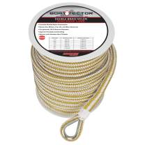 "Extreme Max 3006.2258 BoatTector Premium Double Braid Nylon Anchor Line with Thimble - 1/2"" x 150', White & Gold"