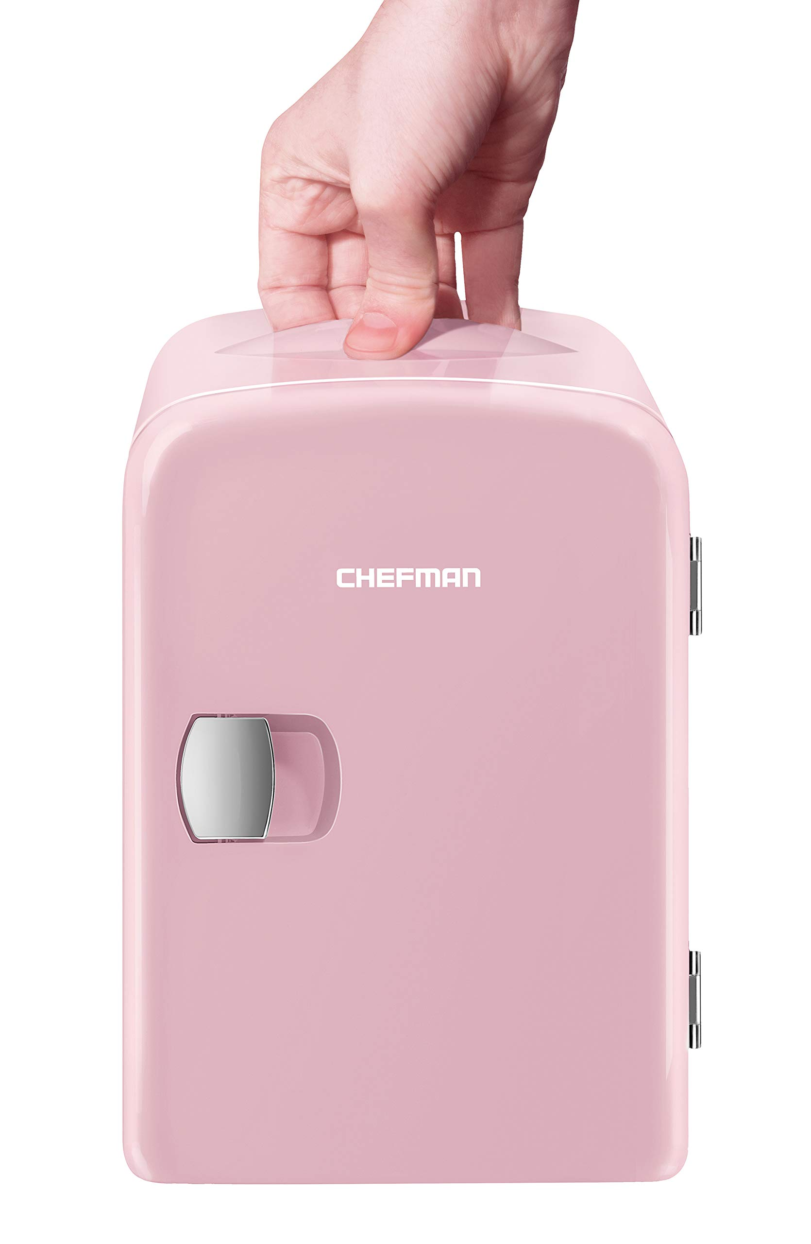 Chefman Mini Portable Compact Personal Fridge Cools & Heats, 4 Liter Capacity, Chills 6 12oz cans, 100% Freon-Free & Eco Friendly, Includes Plugs for Home Outlet & 12V Car Charger, Pink