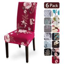 Dining Room Chair Covers Slipcovers Set of 6, Spandex Fabric Fit Stretch Removable Washable Kitchen Chair Covers Protector for Dining Room, Hotel, Ceremony (flower1, 6 per Set)
