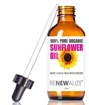 ORGANIC SUNFLOWER SEED OIL FACE MOISTURIZER - 4oz size   All Natural Cold Pressed 100 Pure - High Linoleic   Best for Acne Prone Oily Skin and Face   Daily or Nighttime Facial Regimen for Men & Women