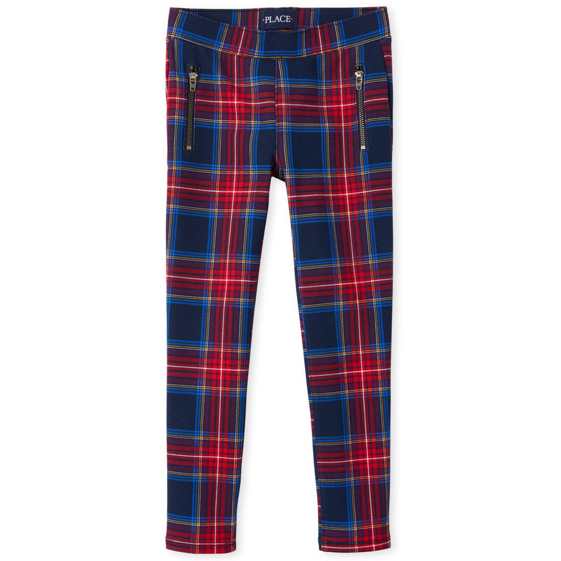 The Children's Place Girls' Big Plaid Zip Jeggings