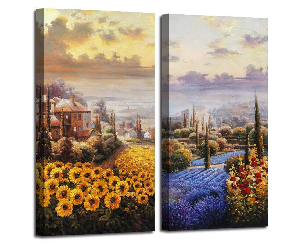 """Arjun Canvas Wall Art Tuscan Sunflower Field Painting Itanlian Countryside Yellow Flowers Picture Rustic Artwork for Bedroom Office Wall Decor Home Decoration 16""""x32""""x2 Panels"""