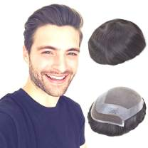 Lordhair Toupee for Men Hair Replacement System European Hair Toupee Hair Pieces for Men Natural Lace Front with Skin Perimeter Base Multiple Size Available
