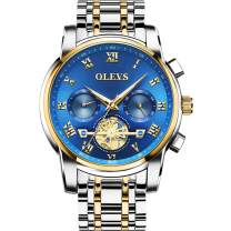 OLEVS Classic Big Face Wrist Watches,Men Business Watches Dress Watch with Day,Green/Black/White/Blue Face,Flywheel Multifunction Chronograph Luminous Men Stainless Steel Wristwatch