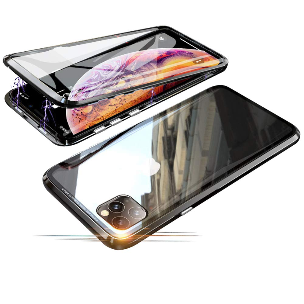 Compatible with iPhone 11 Pro (5.8 inch) Case, Jonwelsy 360 Degree Front and Back Transparent Tempered Glass Cover, Strong Magnetic Adsorption Technology Metal Bumper for iPhone 11 Pro (Black)