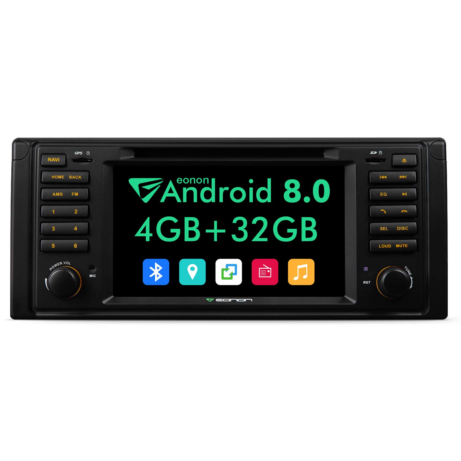 Android Auto Car Stereo Head Unit,Eonon 7 Inch Double Din Car Stereo Octa-Core,4GB RAM 32GB ROM Applicable to 5 Series 1995,1996, 1997,1998,1999,2000,2001 and 2002 (E39) Support Fastboot-GA9201A