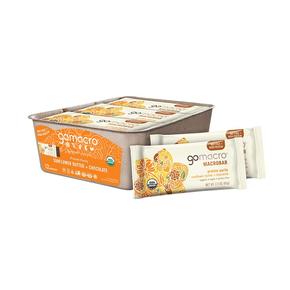 GoMacro MacroBar Organic Vegan Protein Bars - Sunflower Butter + Chocolate (2.3 Ounce Bars, 12 Count)