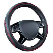 CAR PASS Colour Piping Leather Universal Fit Steering Wheel Cover,Perfectly fit for Suvs,Vans,Trucks,Sedans,Cars (Black and Red)