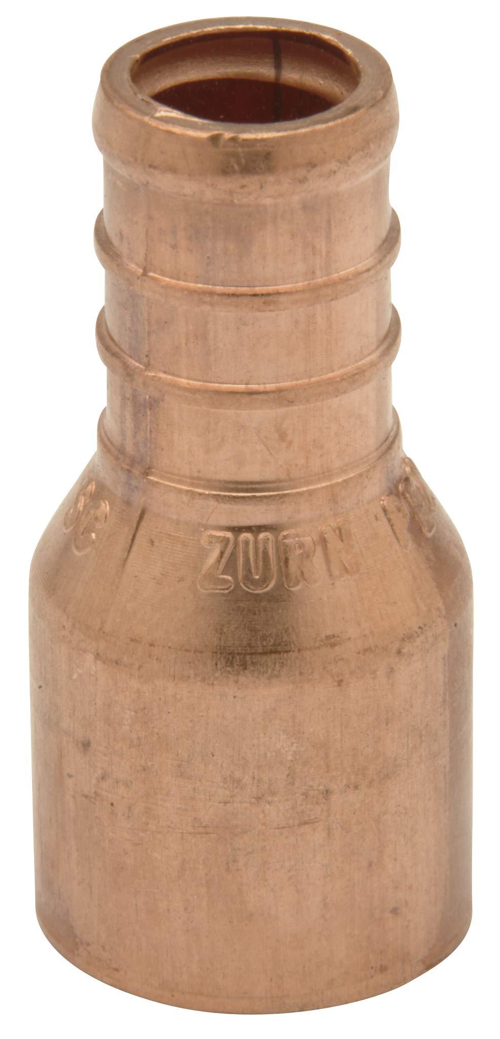 """Zurn QQ750CX Crimp Female Sweat Adapter, Small Diameter, 1/2"""" Female Sweat x 1/2"""" Barb, Copper (Pack of 50)"""