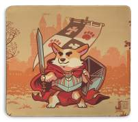 Warrior Corgi Stitched Edging 18x16 Inch Mouse Pad by Inked Gaming / Non-Slip, Rubber, Professional Mouse mat with Smooth Surface. PC Gaming Your Game. Your Style.