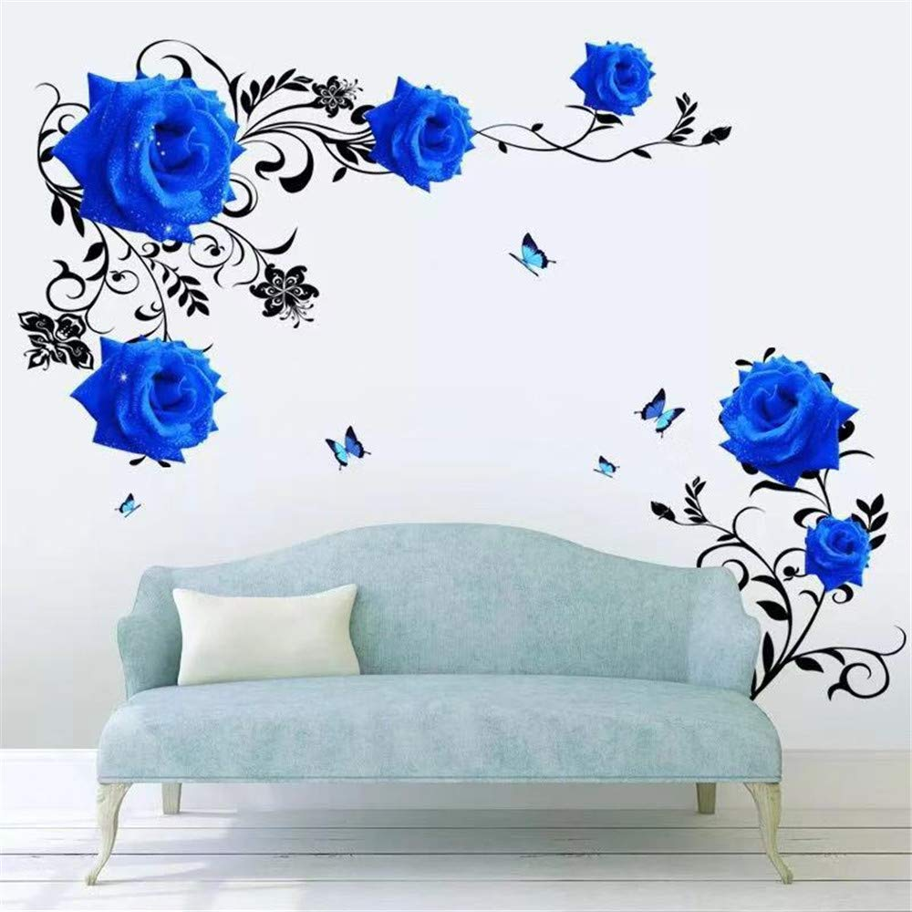 DERUN TRADING Blue Rose Flower Wall Stickers Decals Decor Murals Peel and Stick for Living Women Girls Nursery Room Bedroom Home Improvement Paint Wall Treatments Vinyl Removable Mural Paper