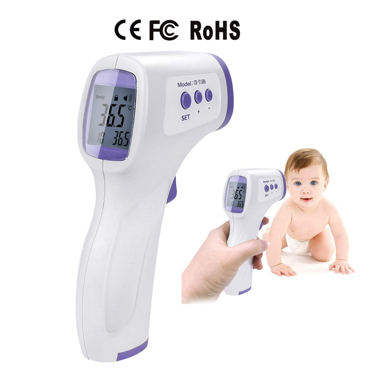 Infrared Forehead Thermometer, Digital Infrared Forehead Thermometer, Non-Contact Digital Thermometer with LCD Display Accurate Infrared Thermometer for Baby, Infants, Adults, Surface of Objects