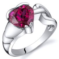 Created Ruby Love Knot Ring Sterling Silver Rhodium Nickel Finish 2.50 Carats Sizes 5 to 9