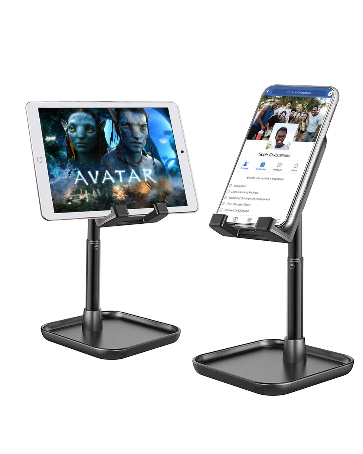 Cell Phone Stand for Desk,Height Angle Adjustable Phone Stand,Deep Dream Desktop Sturdy Aluminum Metal Phone Holder,Compatible with iPhone/iPad/Kindle/Mobile Phone/Tablet,4-13in