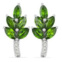 JewelPin Eden Leaf Shape Natural Gemstone Sterling Silver Earrings for Women